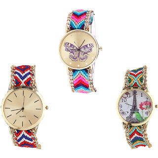 Neutron Treading Heart Butterfly And Paris Eiffel Tower Analogue Multi Color Color Girls And Women Watch - G130-G168-G145 (Combo Of  3 )