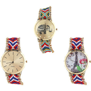 Neutron Modern Analogue Elephant And Paris Eiffel Tower Analogue Multi Color Color Girls And Women Watch - G156-G168-G147 (Combo Of  3 )