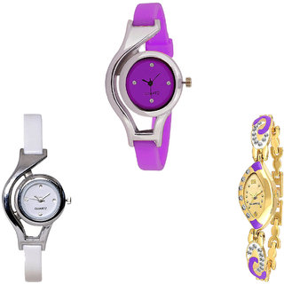 Neutron Treading Exclusive World Cup Analogue Purple, White And Gold Color Girls And Women Watch - G4-G6-G124 (Combo Of  3 )