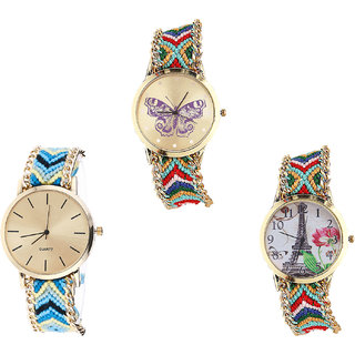 Neutron Contemporary Fashion Butterfly And Paris Eiffel Tower Analogue Multi Color Color Girls And Women Watch - G132-G314-G145 (Combo Of  3 )