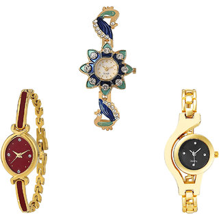 Neutron Modern Quartz Peacock And Chain Analogue Gold Color Girls And Women Watch - G119-G122-G336 (Combo Of  3 )