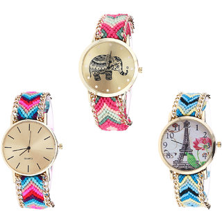 Neutron Brand New Collegian Elephant And Paris Eiffel Tower Analogue Multi Color Color Girls And Women Watch - G163-G164-G149 (Combo Of  3 )