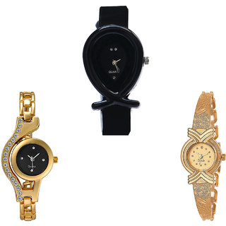 Neutron Brand New Heart Fish Shape And Chain Analogue Black And Gold Color Girls And Women Watch - G55-G114-G265 (Combo Of  3 )