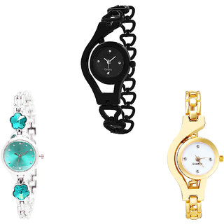 Neutron Classical Analogue Chain And Flower Dimond Analogue Black, Silver And Gold Color Girls And Women Watch - G68-G339-G337 (Combo Of  3 )