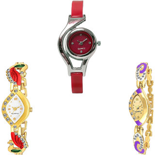 Neutron Brand New Unique World Cup And Peacock Analogue Red And Gold Color Girls And Women Watch - G5-G116-G124 (Combo Of  3 )