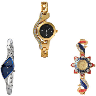 Neutron New Chronograph Chain And Peacock Analogue Gold And Silver Color Girls And Women Watch - G114-G353-G118 (Combo Of  3 )