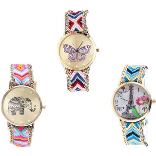 Neutron Treading Quartz Butterfly, Elephant And Paris Eiffel Tower Analogue Multi Color Color Girls And Women Watch - G135-G312-G149 (Combo Of  3 )