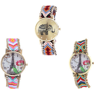 Neutron New Tread Elephant And Paris Eiffel Tower Analogue Multi Color Color Girls And Women Watch - G162-G310-G145 (Combo Of  3 )