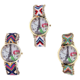 Neutron Modern Formal Paris Eiffel Tower Analogue Multi Color Color Girls And Women Watch - G148-G153-G146 (Combo Of  3 )