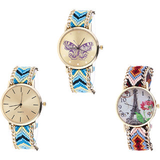 Neutron New Analogue Butterfly And Paris Eiffel Tower Analogue Multi Color Color Girls And Women Watch - G136-G314-G151 (Combo Of  3 )