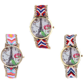 Neutron Latest Stylish Paris Eiffel Tower Analogue Multi Color Color Girls And Women Watch - G147-G310-G148 (Combo Of  3 )