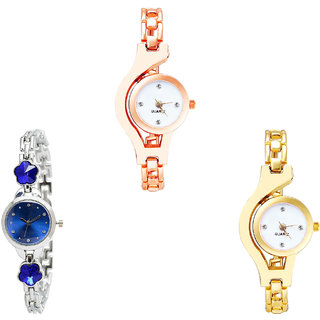 Neutron Best Unique Chain And Flower Dimond Analogue Rose Gold, Silver And Gold Color Girls And Women Watch - G69-G338-G337 (Combo Of  3 )