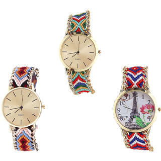 Neutron Best Quartz Paris Eiffel Tower Analogue Multi Color Color Girls And Women Watch - G166-G316-G147 (Combo Of  3 )