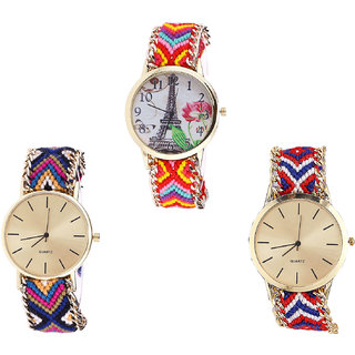 Neutron Contemporary Love Paris Eiffel Tower Analogue Multi Color Color Girls And Women Watch - G144-G318-G168 (Combo Of  3 )
