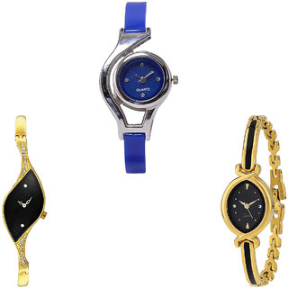 Neutron Latest Quartz World Cup Analogue Blue And Gold Color Girls And Women Watch - G2-G354-G121 (Combo Of  3 )