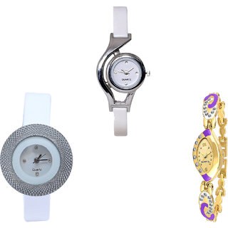Neutron Contemporary Heart World Cup And Chronograph Analogue White And Gold Color Girls And Women Watch - G6-G56-G124 (Combo Of  3 )