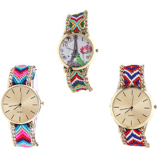 Neutron Contemporary Italian Designer Paris Eiffel Tower Analogue Multi Color Color Girls And Women Watch - G145-G164-G168 (Combo Of  3 )