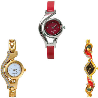 Neutron Brand New Formal World Cup, Chain And Peacock Analogue Red And Gold Color Girls And Women Watch - G5-G115-G117 (Combo Of  3 )