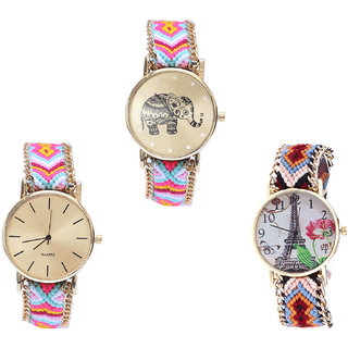 Neutron Brand New Fashion Elephant And Paris Eiffel Tower Analogue Multi Color Color Girls And Women Watch - G312-G319-G151 (Combo Of  3 )