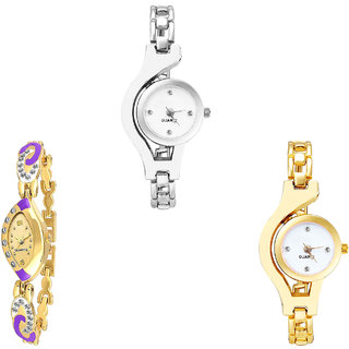 Neutron New Luxury Chain Analogue Silver And Gold Color Girls And Women Watch - G70-G124-G337 (Combo Of  3 )