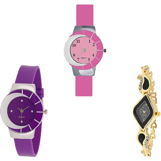Neutron Best Formal  Analogue Pink, Purple And Gold Color Girls And Women Watch - G9-G10-G266 (Combo Of  3 )