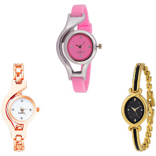 Neutron Treading Luxury World Cup And Chain Analogue Pink, Rose Gold And Gold Color Girls And Women Watch - G3-G69-G121 (Combo Of  3 )