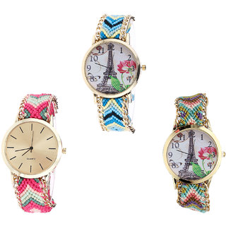 Neutron Contemporary Rich Paris Eiffel Tower Analogue Multi Color Color Girls And Women Watch - G149-G317-G146 (Combo Of  3 )