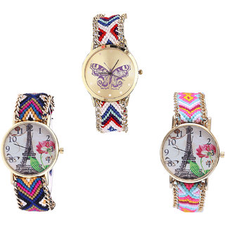 Neutron Best High Quality Butterfly And Paris Eiffel Tower Analogue Multi Color Color Girls And Women Watch - G135-G153-G310 (Combo Of  3 )