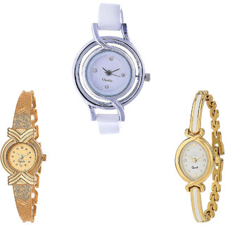 Neutron Treading Quartz  Analogue White And Gold Color Girls And Women Watch - G50-G265-G123 (Combo Of  3 )