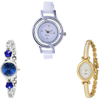 Neutron Treading Tread Flower Dimond Analogue White, Silver And Gold Color Girls And Women Watch - G50-G338-G123 (Combo Of  3 )