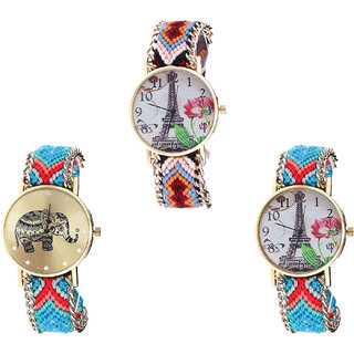 Neutron New Designer Paris Eiffel Tower And Elephant Analogue Multi Color Color Girls And Women Watch - G151-G161-G150 (Combo Of  3 )