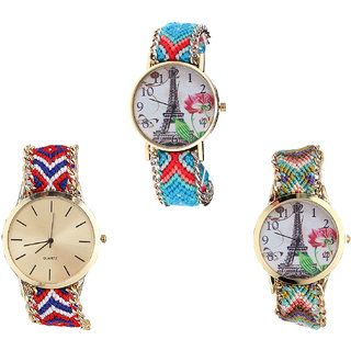 Neutron Contemporary Formal Paris Eiffel Tower Analogue Multi Color Color Girls And Women Watch - G150-G168-G146 (Combo Of  3 )