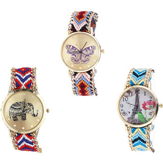 Neutron Contemporary Chronograph Butterfly, Elephant And Paris Eiffel Tower Analogue Multi Color Color Girls And Women Watch - G138-G158-G149 (Combo Of  3 )