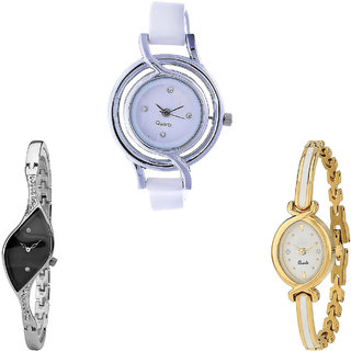 Neutron Treading Exclusive  Analogue White, Silver And Gold Color Girls And Women Watch - G50-G352-G123 (Combo Of  3 )