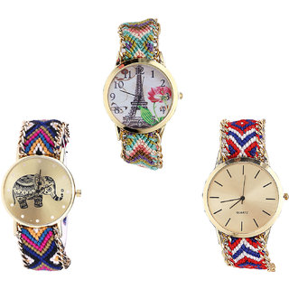 Neutron Latest Italian Designer Paris Eiffel Tower And Elephant Analogue Multi Color Color Girls And Women Watch - G146-G311-G168 (Combo Of  3 )