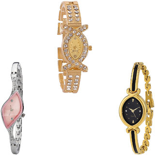 Neutron Contemporary Formal  Analogue Gold And Silver Color Girls And Women Watch - G125-G405-G121 (Combo Of  3 )