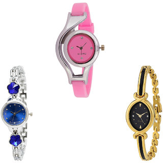 Neutron Treading Quartz World Cup And Flower Dimond Analogue Pink, Silver And Gold Color Girls And Women Watch - G3-G338-G121 (Combo Of  3 )