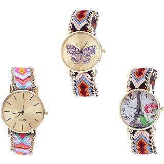 Neutron Modern Luxury Butterfly And Paris Eiffel Tower Analogue Multi Color Color Girls And Women Watch - G138-G319-G151 (Combo Of  3 )