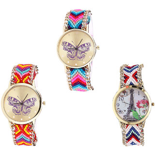 Neutron Latest Unique Butterfly And Paris Eiffel Tower Analogue Multi Color Color Girls And Women Watch - G130-G131-G148 (Combo Of  3 )