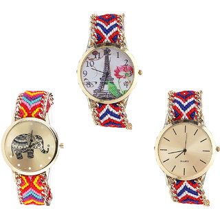 Neutron Classical Love Paris Eiffel Tower And Elephant Analogue Multi Color Color Girls And Women Watch - G147-G155-G168 (Combo Of  3 )
