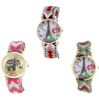 Neutron Latest Wrist  Paris Eiffel Tower And Elephant Analogue Multi Color Color Girls And Women Watch - G151-G163-G146 (Combo Of  3 )