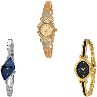 Neutron Contemporary Exclusive  Analogue Gold And Silver Color Girls And Women Watch - G265-G353-G121 (Combo Of  3 )