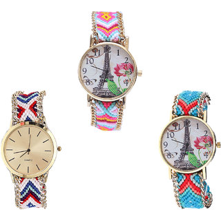 Neutron New Heart Paris Eiffel Tower Analogue Multi Color Color Girls And Women Watch - G310-G313-G150 (Combo Of  3 )