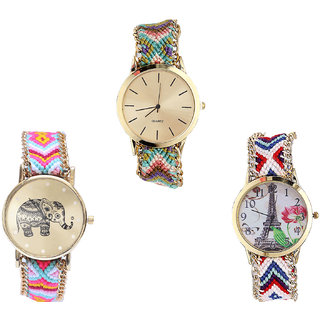 Neutron Treading Analogue Elephant And Paris Eiffel Tower Analogue Multi Color Color Girls And Women Watch - G167-G312-G148 (Combo Of  3 )