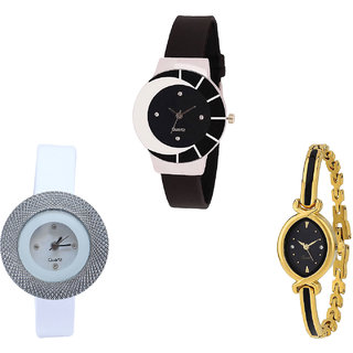Neutron Classical Heart Chronograph Analogue Black, White And Gold Color Girls And Women Watch - G8-G56-G121 (Combo Of  3 )