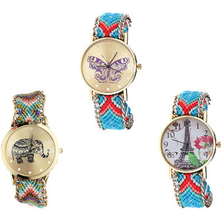 Neutron Classical Heart Butterfly, Elephant And Paris Eiffel Tower Analogue Multi Color Color Girls And Women Watch - G137-G157-G150 (Combo Of  3 )