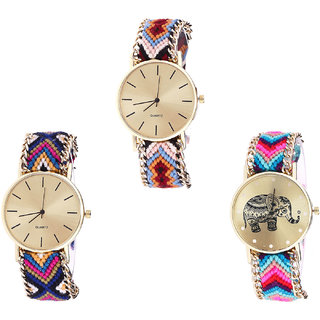 Neutron Brand New Quartz Elephant Analogue Multi Color Color Girls And Women Watch - G316-G318-G154 (Combo Of  3 )