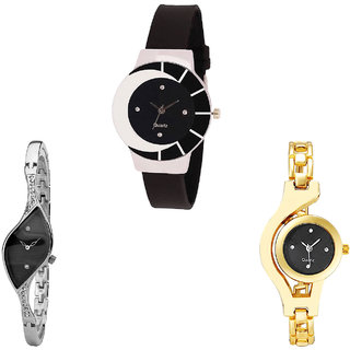 Neutron Best Formal Chain Analogue Black, Silver And Gold Color Girls And Women Watch - G8-G352-G336 (Combo Of  3 )