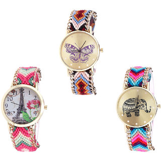 Neutron Treading Chronograph Butterfly, Paris Eiffel Tower And Elephant Analogue Multi Color Color Girls And Women Watch - G138-G152-G154 (Combo Of  3 )