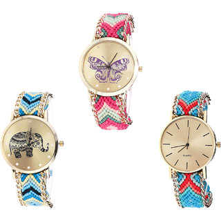 Neutron Latest Professional Butterfly And Elephant Analogue Multi Color Color Girls And Women Watch - G139-G160-G315 (Combo Of  3 )